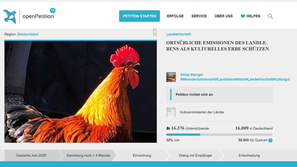 Petition Hähnekrähen