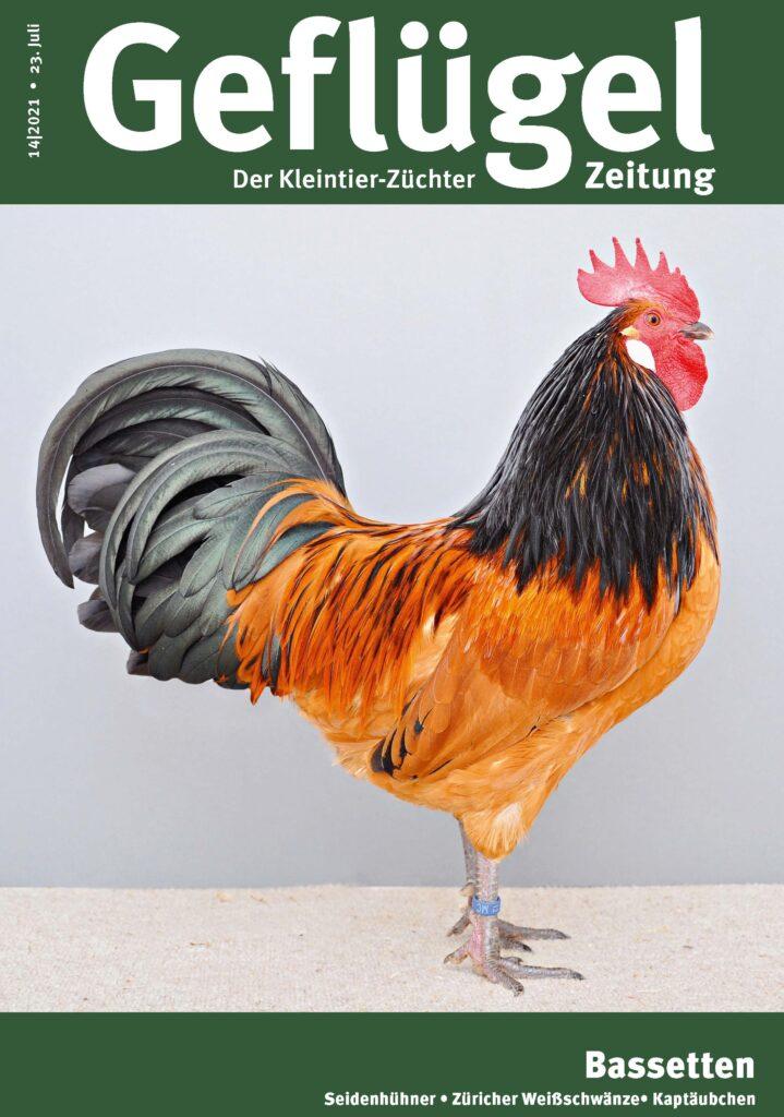 Titelbild der Geflügelzeitung Ausgabe 14, 1,0 Basette wachtelfarbig